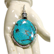 Wire Wrap Morenci Turquoise Pendant