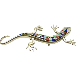 Gecko Sterling Silver with INlay Decoration Pin/Pendant