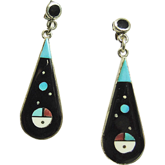 Sterling Silver Earrings with Micro Inlay