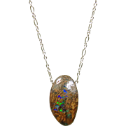 Top Matrix Boulder Opal Pendant on Sterling Silver Chain