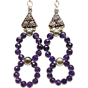 Amethyst Beads and Sterling Solver Earrings