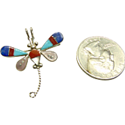 Sterling Silver Dragon Fly Pin/Pendant  with Stone on Metal Inlay