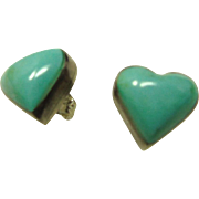 Heart Shape Turquoise and Sterling Silver Earrings