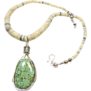 White Shell Heishi Necklace with Wire Wrapped Spiderweb Turquoise Pendant