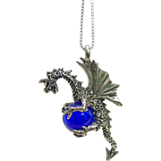 Sterling Silver Dragon Pendant on Sterling Silver Chain