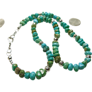 Ithica Peak Kingman Turquoise and Sterling Silver Bench Bead Necklace
