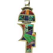 Alvin Yellowhorse Large Multiple Stone Inlay Pendant