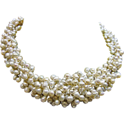 Collar Necklace of Cream Freshwater Pearls