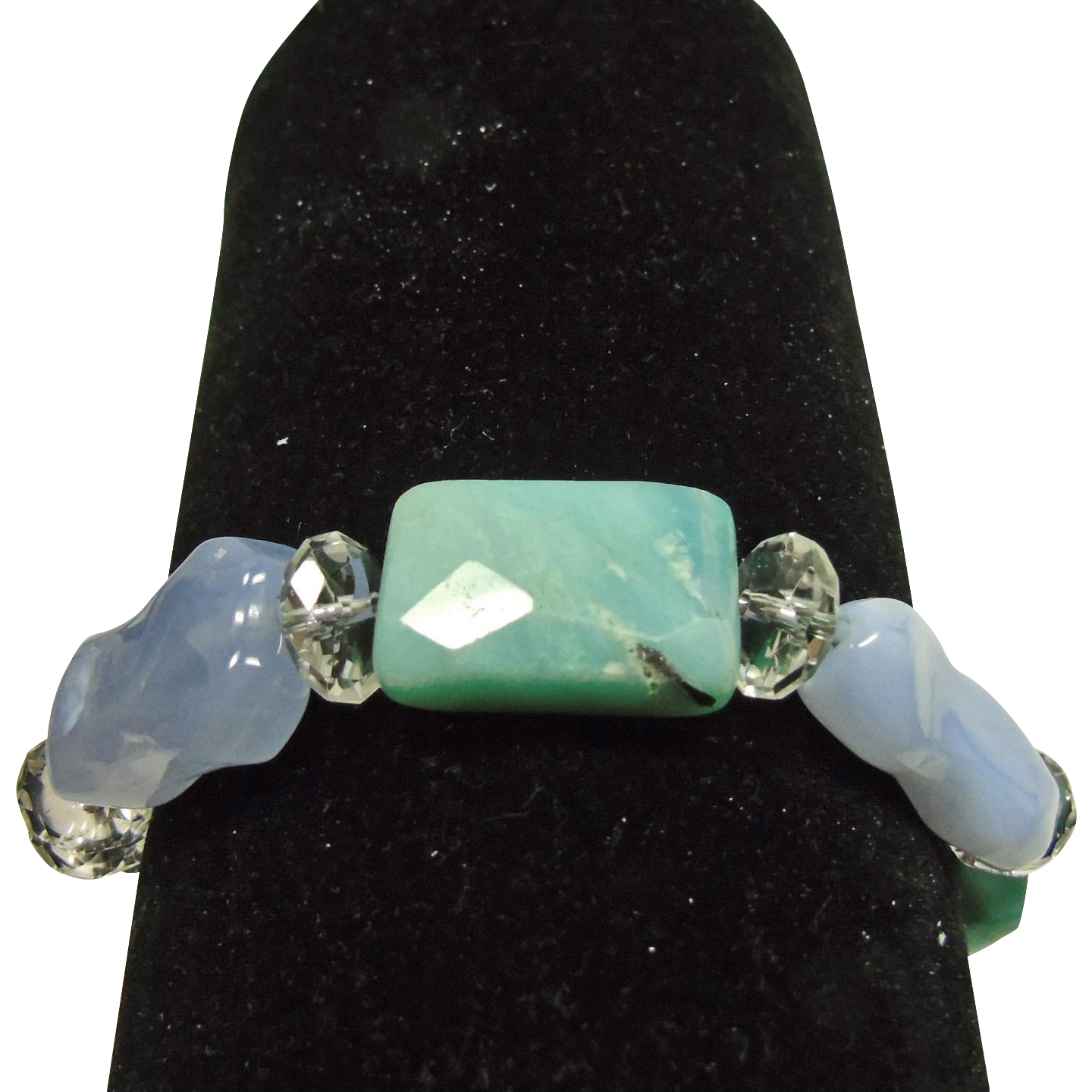 Bracelet of Chalcedony and  Faceted Amazonite