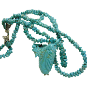 Double Strand of Turquoise Nuggets with a Hand Carved  Pendant by Ben Livingston