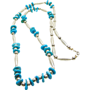 Silver Bead and Turquoise Necklace