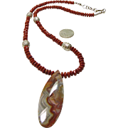 Necklace 0f Red Jasper Rondelles with Laguna Lace Agate  Pendant
