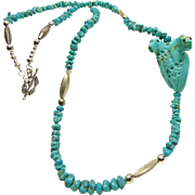Turquoise Nugget and Silver Bead Necklace with Carving by Ben Livingston