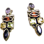 Sterling Silver Earrings with Garnet, Amethyst, Peridot, Iolite and Citrine Stones