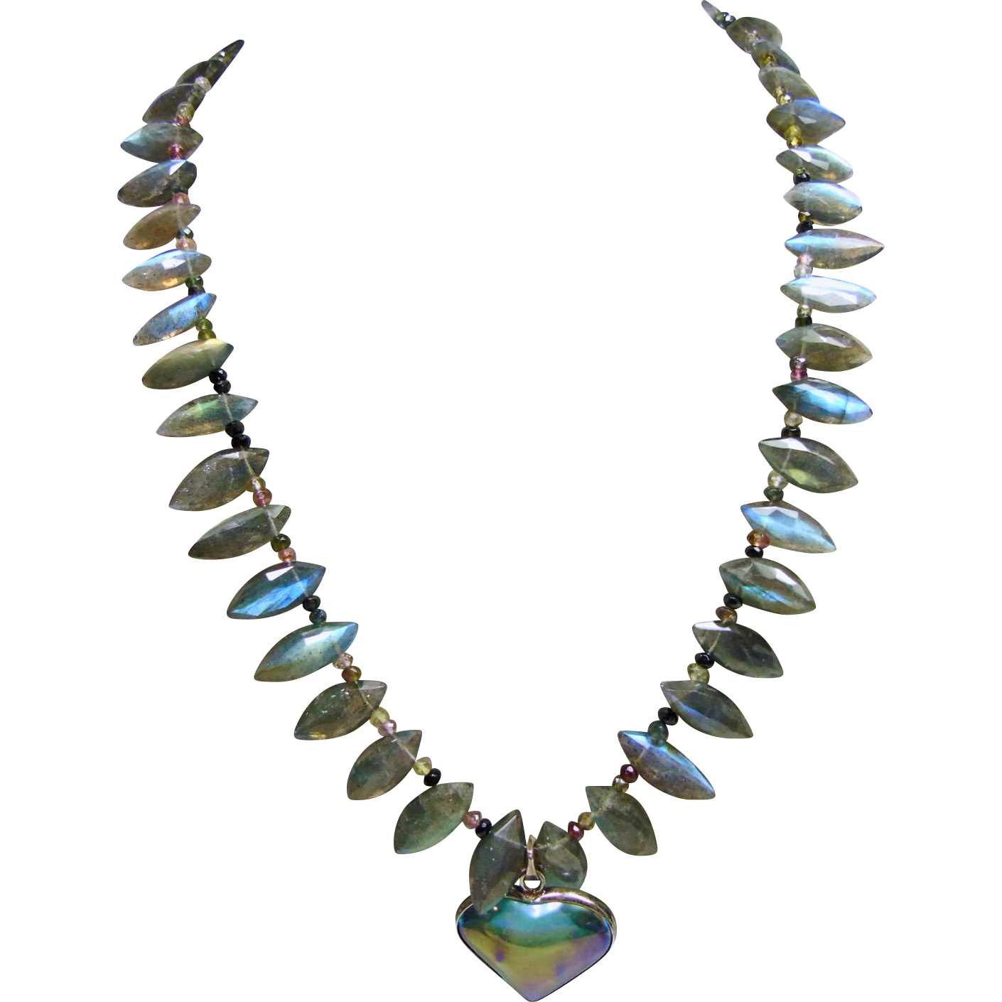blue labadorite and tourmaline necklace with a tangerine