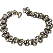 Sterling Book Link Bracelet with Floral Motif