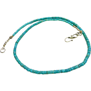 Kingman Turquoise Rondelle Necklace