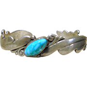 Narrow Triple Scalloped Wire Bracelet with Turquoise Nugget in Center