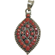 Tibetan Sterling Silver Pendant with Red Coral