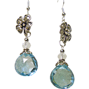 Blue Topaz, White Crystal Quartz Sterling Silver Floral Earrings
