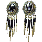 Sterling Silver Silver Concho with Black Stone On Metal Inlay and Black and Silver Drops