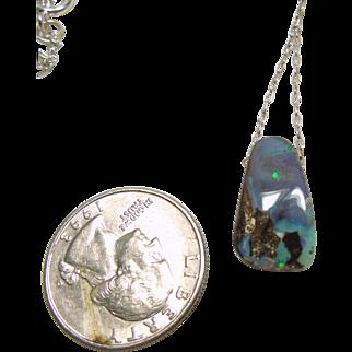 Australian Boulder Opal Pendant on Sterling Silver Chain