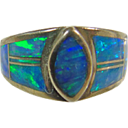 Sterling Silver Ring with Blue Opal  Inlay