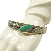Fred Harvey Era 900 Silver Cuff Bracelet with Green Turquoise
