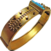 Faux Gold Etruscan  and Turquoise Bangle Bracelet