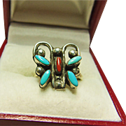Sterling Silver Butterfly Ring with Turquoise and Coral