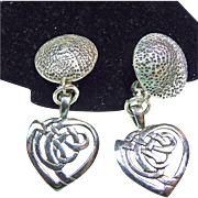 Sterling Silver Clip Earrings with Heart Shape Drop