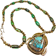 Silver Necklace with Pendant of Bisbee Turquoise by Carlos White Eagle