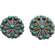Sterling Silver Turquoise Cluster Earring with Clips
