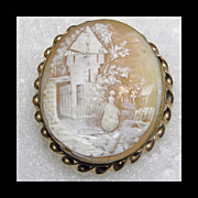 Victorian Scenic Shell Cameo in Gold Filled Frame