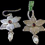 Sterling Silver Flower Earrings with Garnet and Pearl Drop