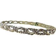 Sterling Silver Bangle with Embossed  Cut Out Design