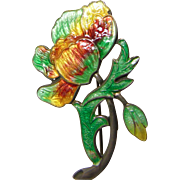 Vintage Sterling Silver Flower Broach Covered in Multiple Color Enamel