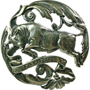 Sterling Silver Taurus Broach by Sellon