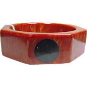 Bakelite 8 Sided Cuff Bracelet with Large Black Dots