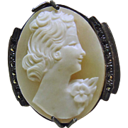 1930's Shell Cameo in German Silver with Marcasites