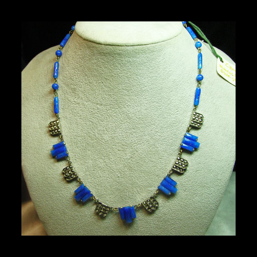 Faux Lapis and Marcasite Art Dec Style Necklace