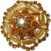 Weiss Brooch with Topaz Rhinestones and Cream Color Cat's Eye Rhinestones in Gold Tone Metal