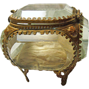 Victorian Beveled Glass and Metal Ring Box