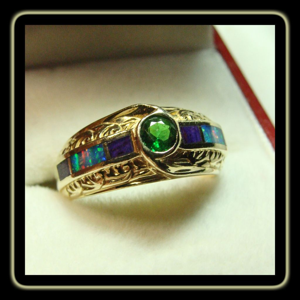 Tsavorite Garnet 18k Gold ring with Black Opal and Sugilite