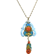 Rare Mandarin Court Pendant with Kingfisher Feathers and Woven Red Salmon Coral on Brass Chain