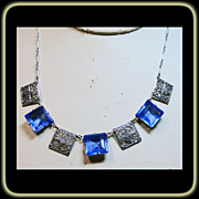 Art Deco  Blue Glass Filigree Necklace