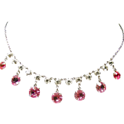 Festoon Style Necklace with Hot Pink and Clear Rhinestones