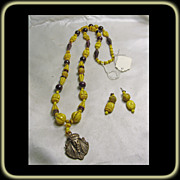 Egyptian Revival Glass and Brass Necklace and Earrings