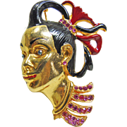 Figural Brooch of a Young Oriental Boy Decorated with Enamel and Rhinestones