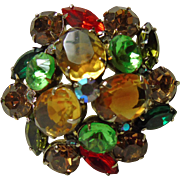 Krammer Multiple Color Rhinestone Brooch